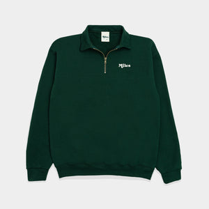 Miles Logo Quarter Zip – Green