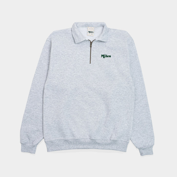 Miles Logo Quarter Zip – Grey