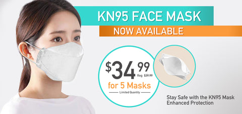 KN95 Face Masks, providing suitable protection from COVID-19, limited availability, pack of 5