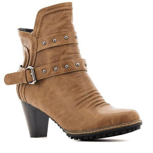 Bellasiba Ladies Buckle High Heel Boots-BELLASIBA-Shumaker Shoes