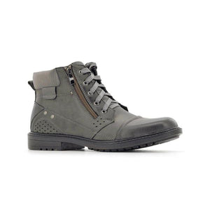 Stepwel Men Lace-up Zipper Ankle Boots-STEPWEL-Shumaker Shoes