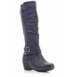 Stepwel Ladies Buckle Calf Boots-STEPWEL-Shumaker Shoes