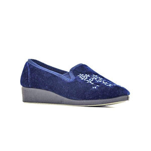 4100 Navy COZY N COMFY LADIES SLIPPERS at Shumaker