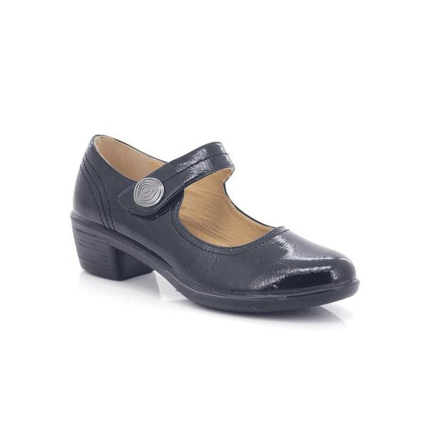 Comfort-zone Ladies Velcro Strap Glossy Dress Shoes