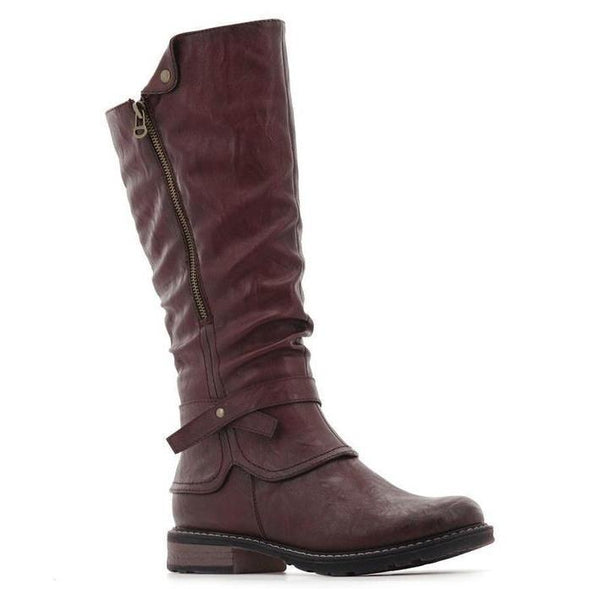 Stepwel Ladies Zipper Calf Boots-STEPWEL-Shumaker Shoes