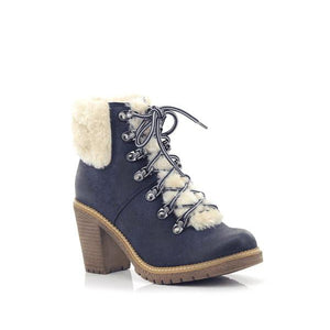 Fjord Ladies Lace-up High Heel Fur Boots-FJORD-Shumaker Shoes