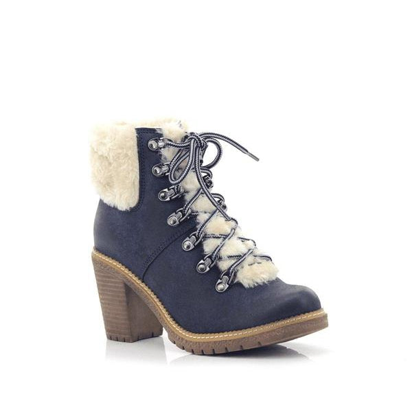 Fjord Ladies Lace-up High Heel Fur Boots