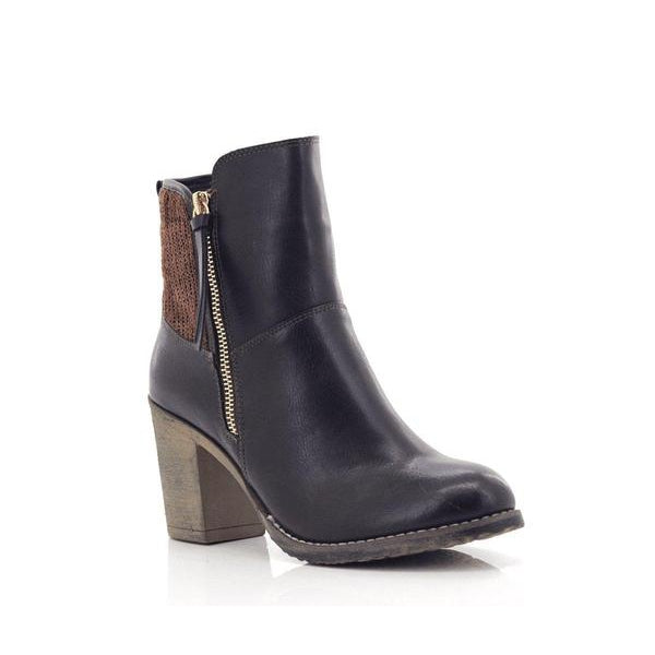 Fjord Ladies Zipper High Heel High Ankle Boots