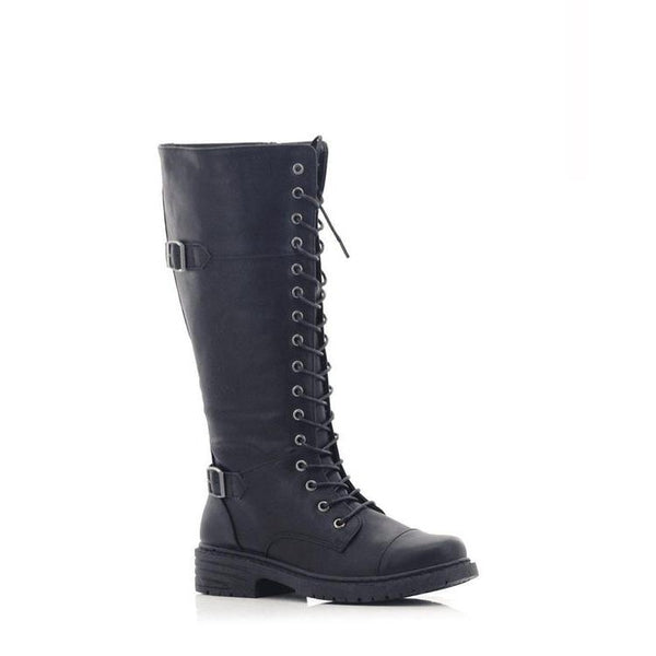 Lolla-bacchi Ladies Lace-up Double Buckle Knee-High Boots