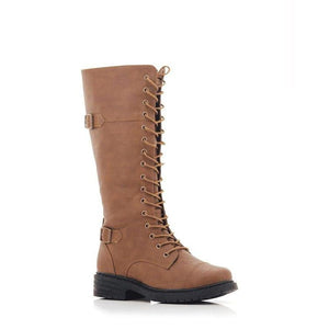 Lolla-bacchi Ladies Lace-up Double Buckle Knee-High Boots-LOLLA BACCHI-Shumaker Shoes