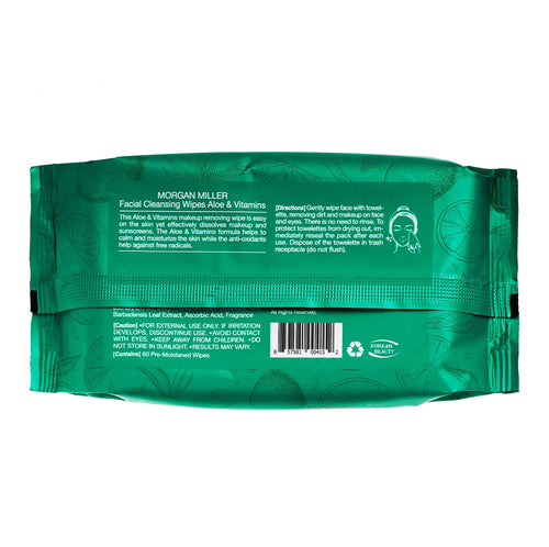 Facial Cleansing Wipes Aloe & Vitamins, 60 ct