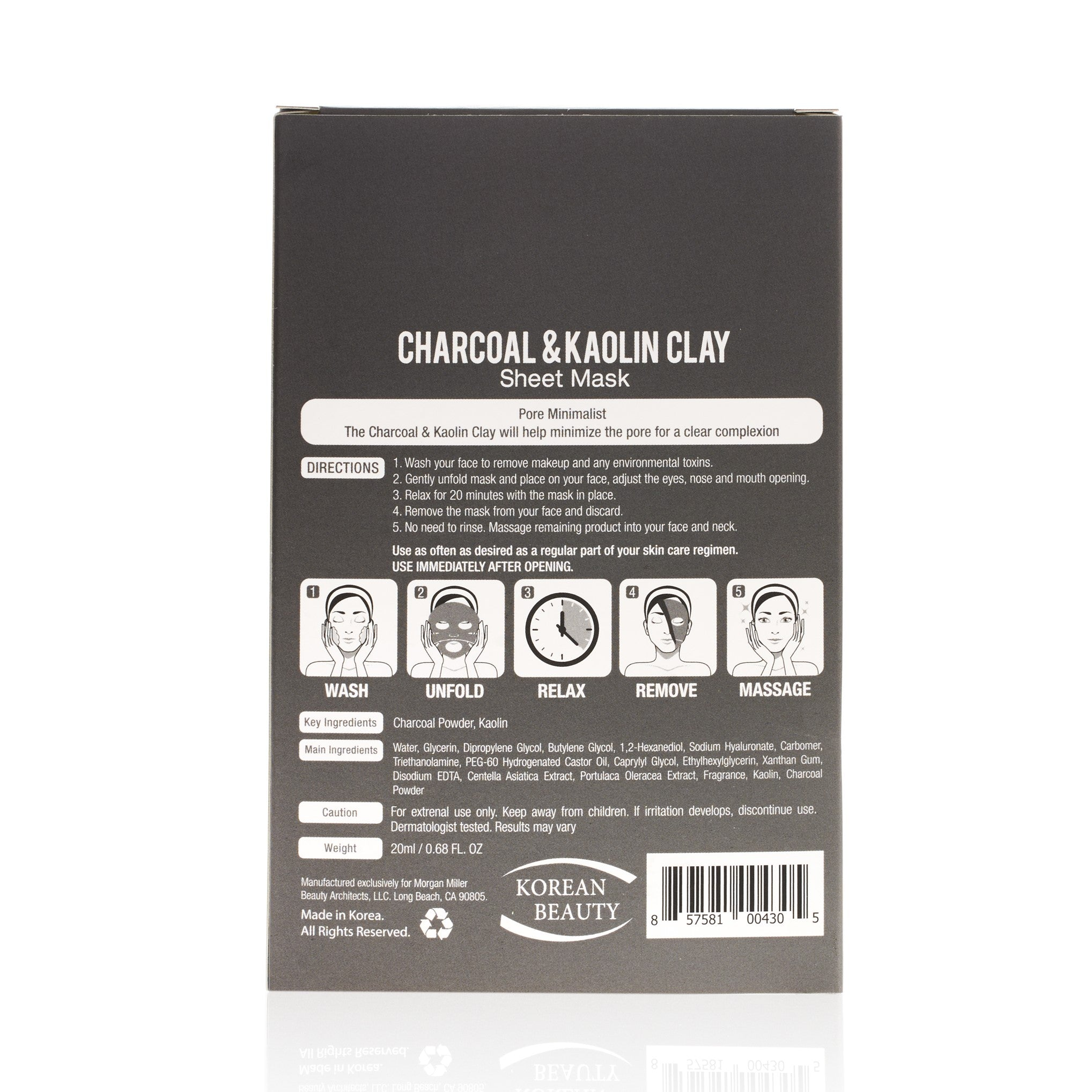 Back of Morgan Miller Charcoal & Kaolin Clay Sheet Masks packaging