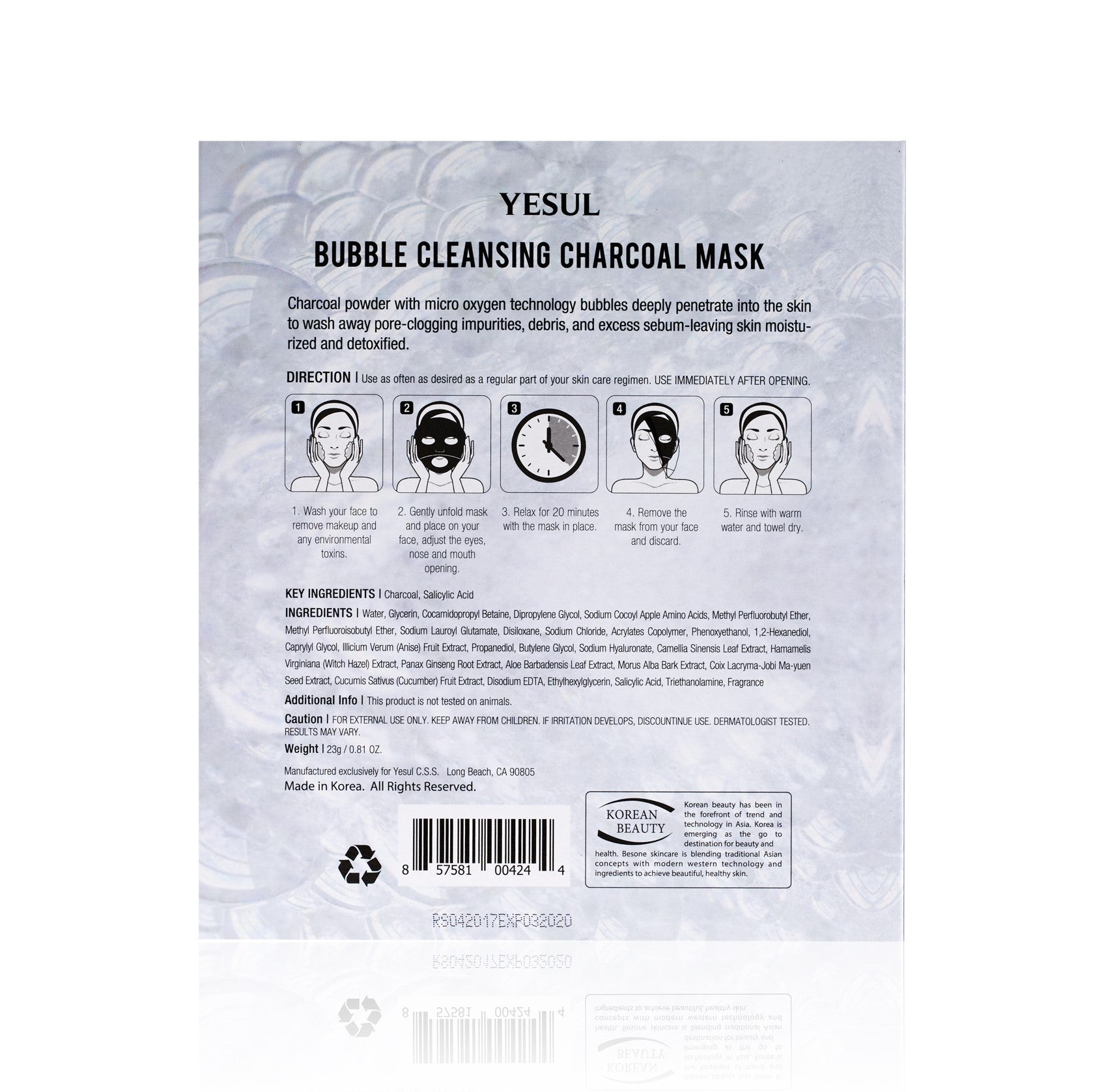 YESUL Bubble Cleansing Charcoal Bubble Sheet Mask backview