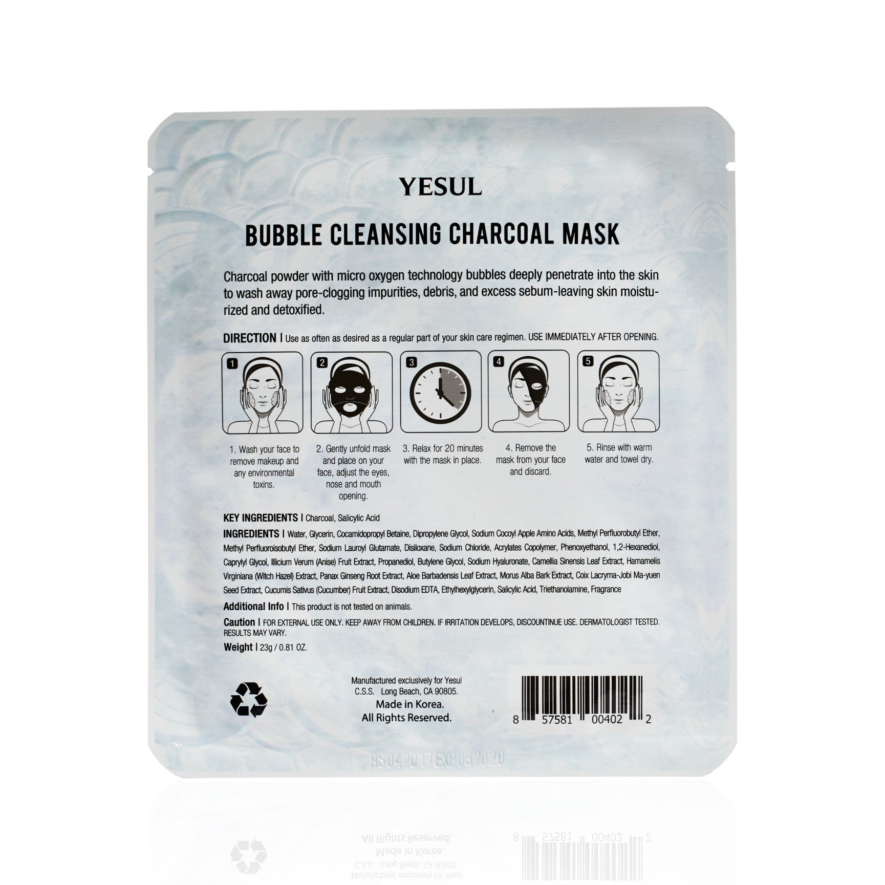 YESUL Bubble Cleansing Charcoal Bubble Sheet Mask backview of packaging
