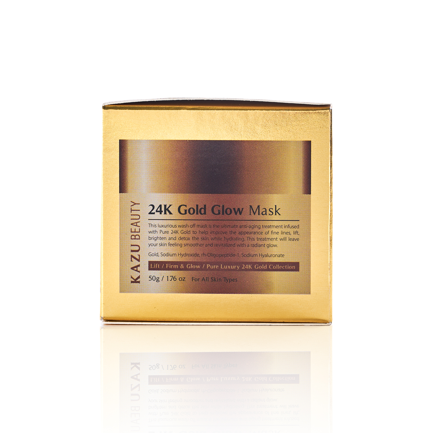 KAZU Beauty 24k Gold Glow Mask box side angle