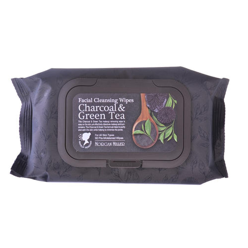 Facial Cleansing Wipes Charcoal & Green Tea, 60 ct