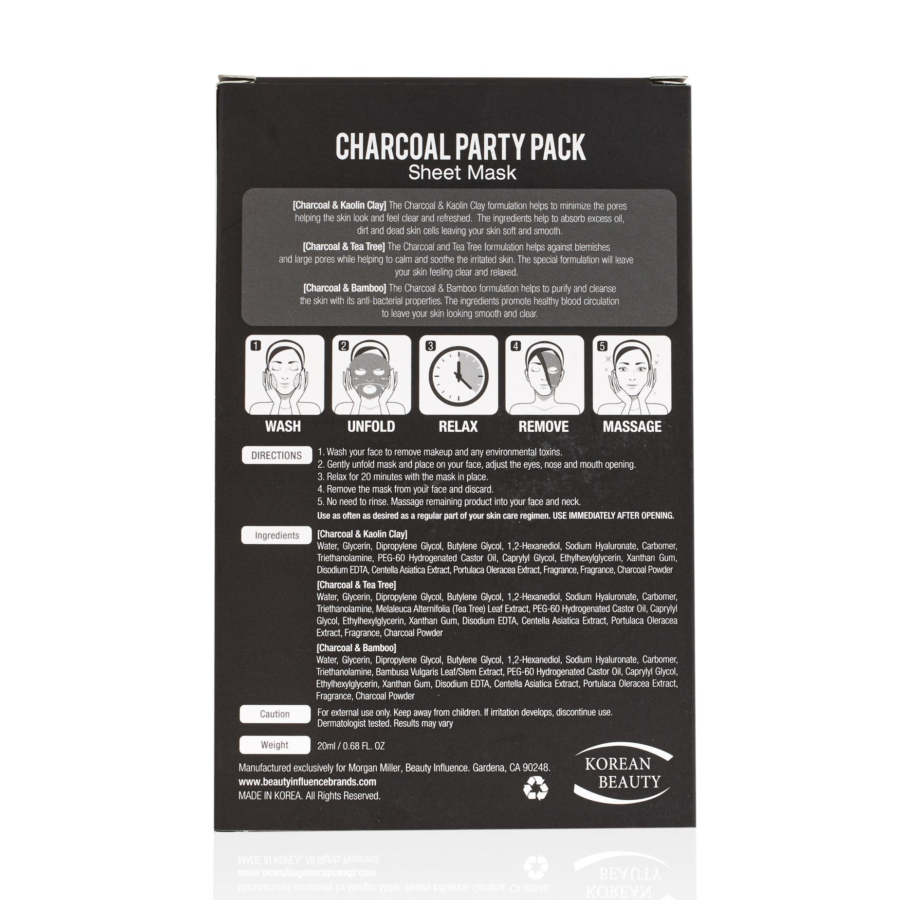 Back of Morgan Miller Charcoal Party Pack Sheet Mask Collection packaging