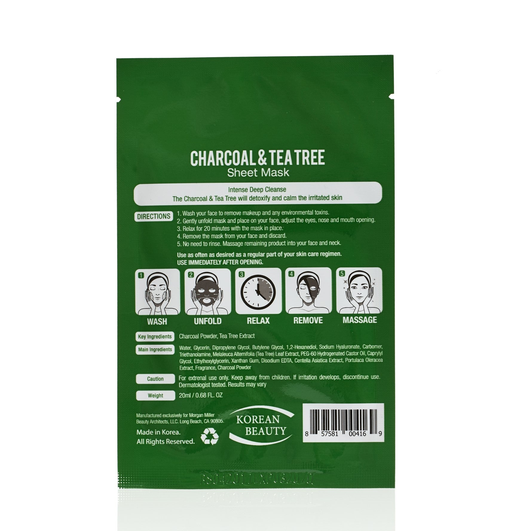 Back of Morgan Miller Charcoal & Tea Tree packaging