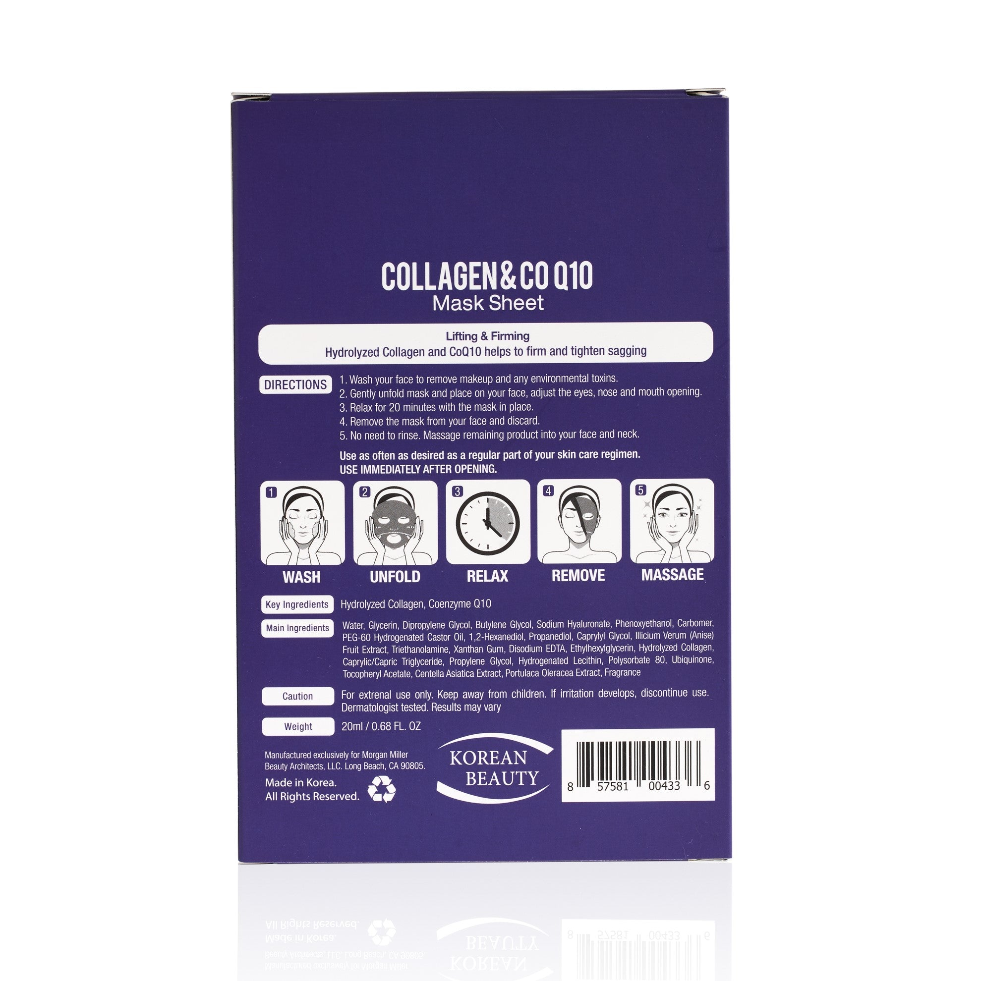 Back of Morgan Miller Collagen Sheet Mask packaging