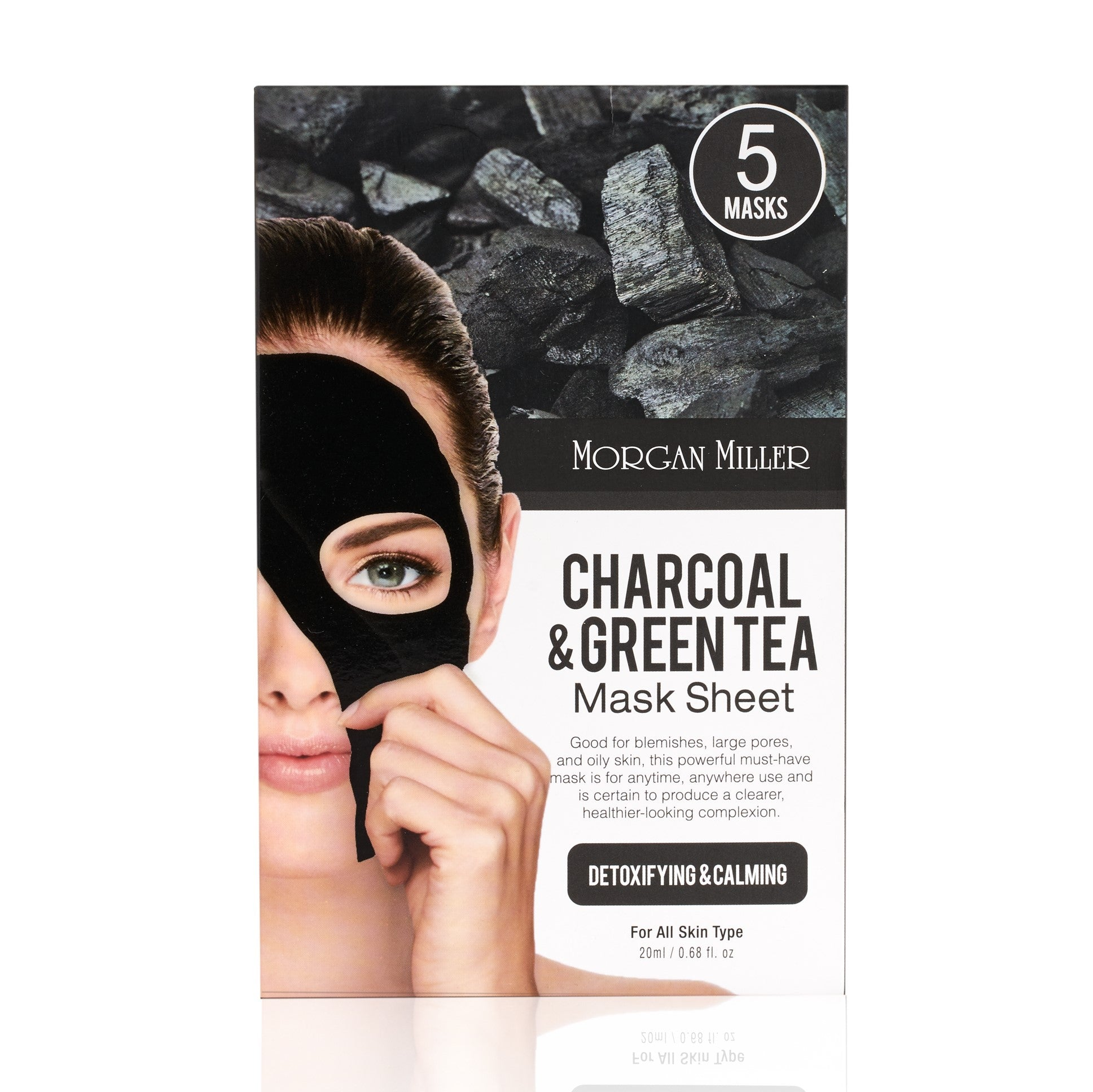 Morgan Miller Charcoal & Green Tea Sheet Mask packaging