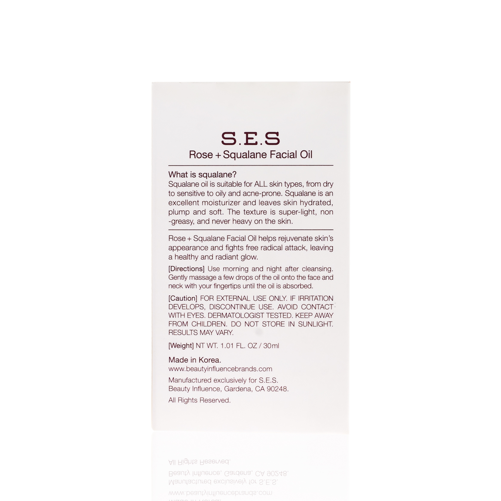Back of S.E.S. Squalane Rose Gold Facial Oil packaging