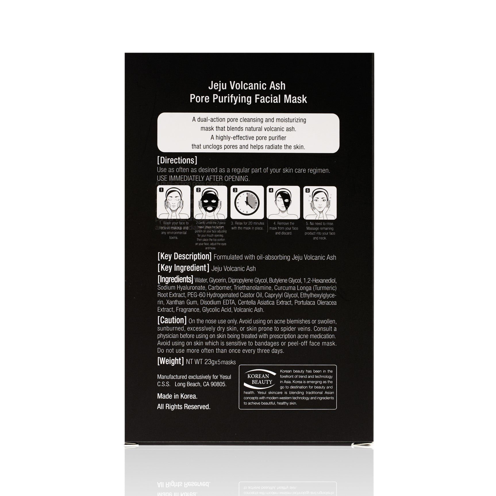 Back of YESUL Jeju Volcanic Ash Pore Purifying Sheet Mask