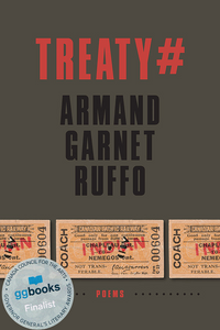 Book cover: Treaty #, Armand Garnet Ruffo. Sticker: GG Books Finalist.
