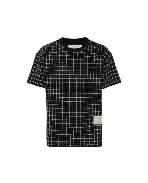 GRID PRINT SS KNITTED T-SHIRT