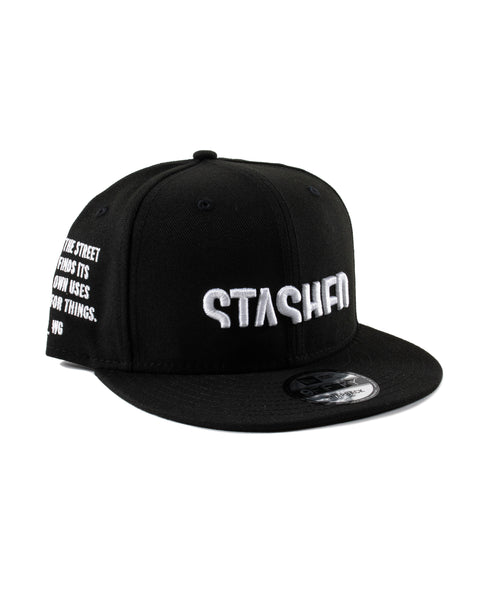 Stashed Wordmark Black White Snapback