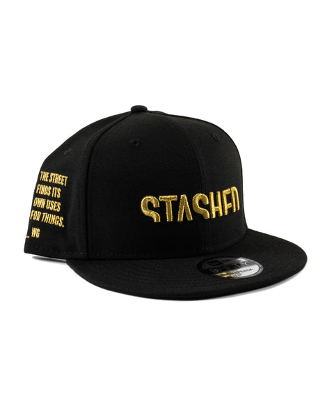 Stashed Wordmark Black Gold Snapback
