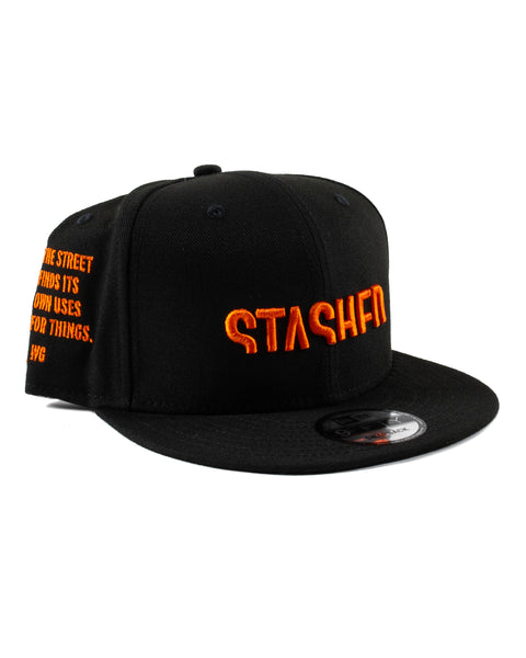 Stashed Wordmark Black Orange Snapback