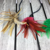 Feathers on a Leather String Cat Teaser Toy