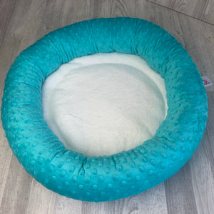 Sea turquoise & white minky bed
