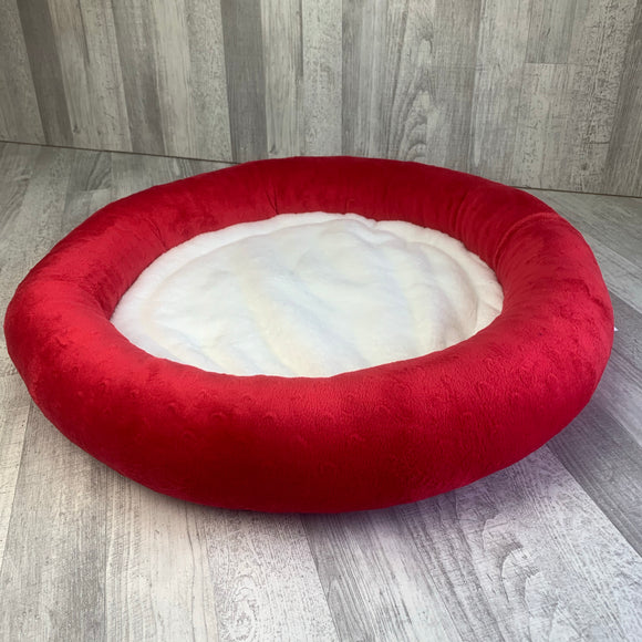 Red & white minky bed