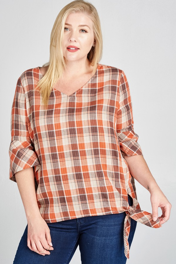 Plus Plaid V-neck Blouse - Blingz Jeanz and Thingz