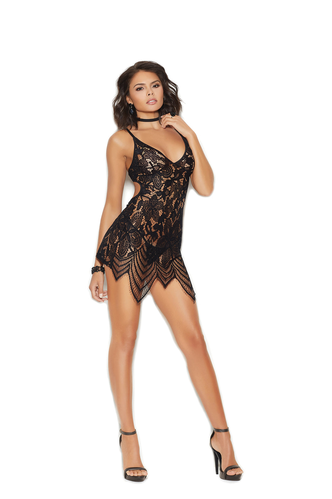 Lace babydoll with adjustable straps. Hook & eye back closure. Matching g-string included. 100% Nylon.