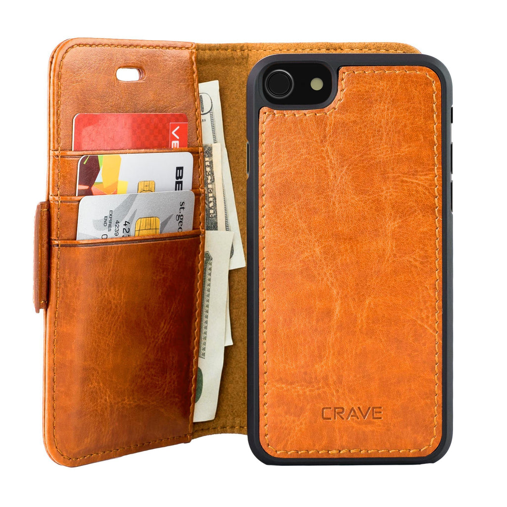Brown Apple iPhone 7 8 Case Vegan Leather Wallet Cover by Crave var-4873694249001
