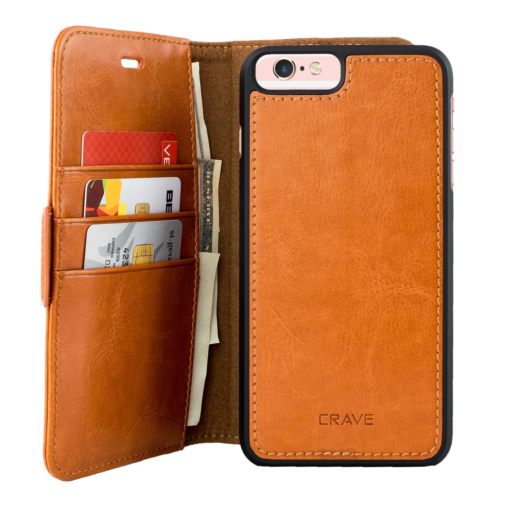 Brown Apple iPhone 6 6s Plus Case Vegan Leather Wallet Cover by Crave var-4873694281769