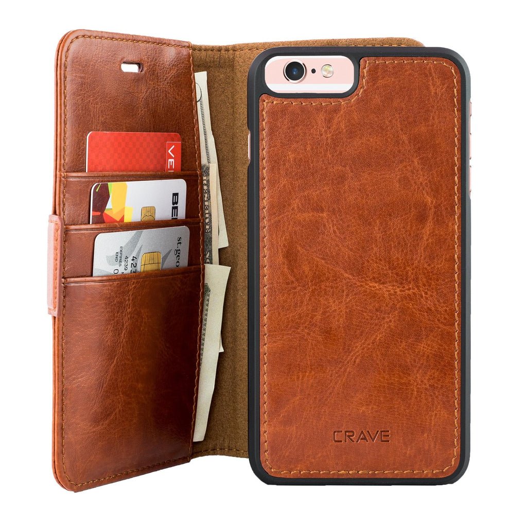 Dark Brown Apple iPhone 6 6s Plus Case Vegan Leather Wallet Cover by Crave var-4873693888553