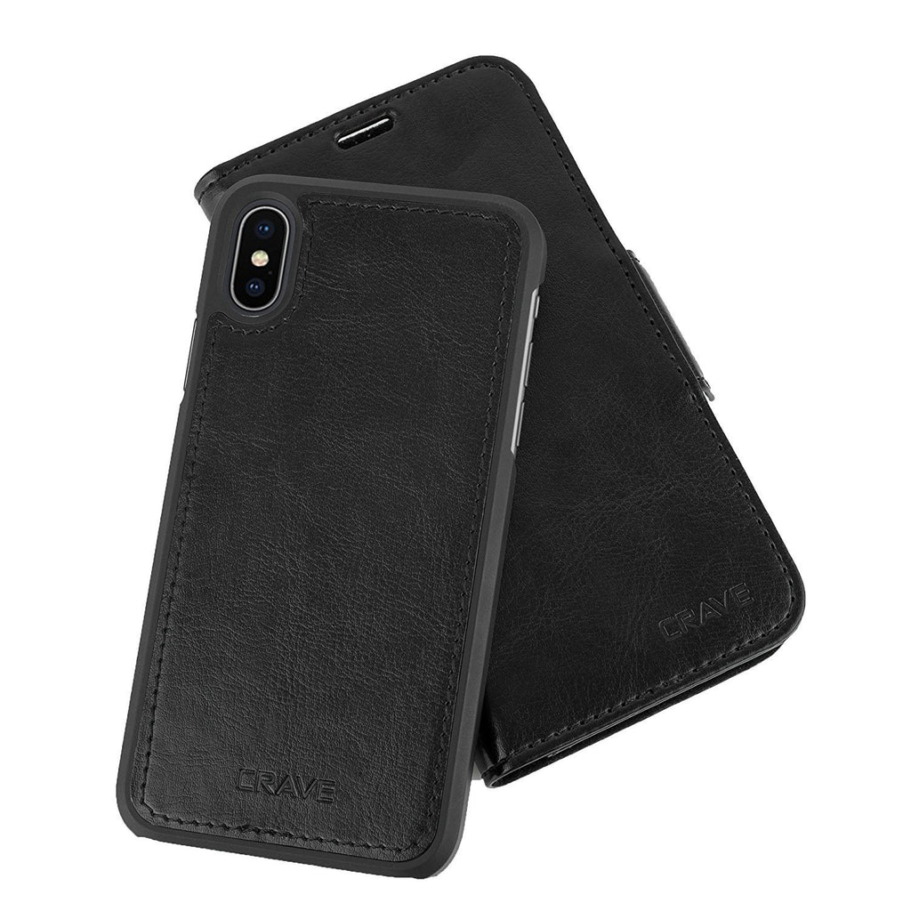 Black Apple iPhone X 10 Case Vegan Leather Wallet Cover by Crave var-4873694019625