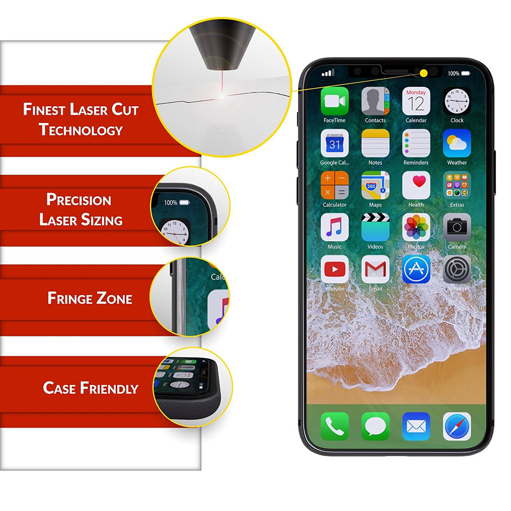 iPhone XS / X Glass Screen Protector, 2-Pack