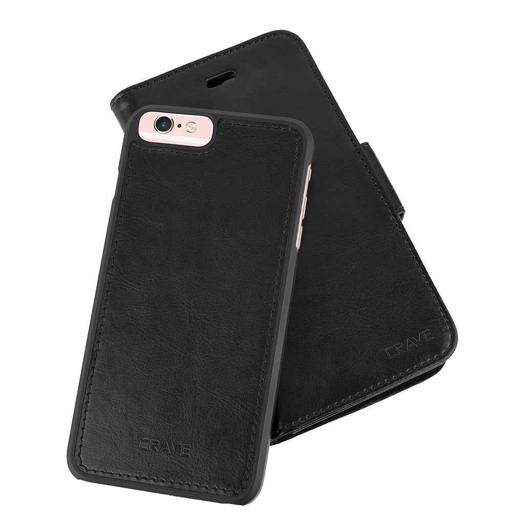 Black Apple iPhone 6 6s Plus Case Vegan Leather Wallet Cover by Crave var-4873694117929