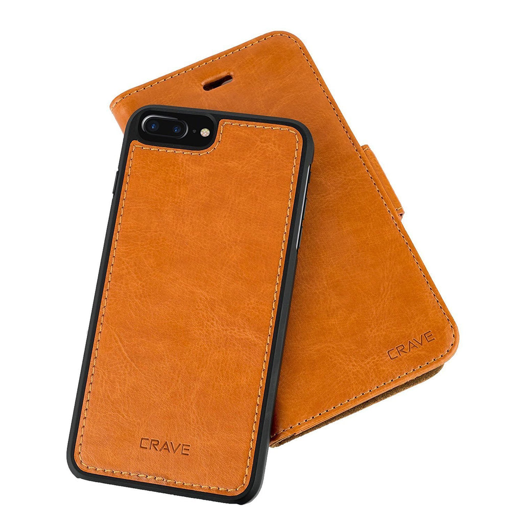 Brown Apple iPhone 7 8 Plus Case Vegan Leather Wallet Cover by Crave var-4873694216233