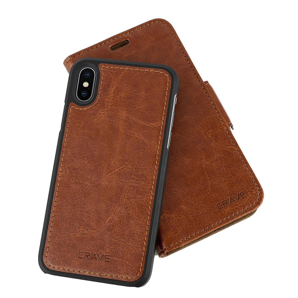 Dark Brown Apple iPhone X 10 Case Vegan Leather Wallet Cover by Crave var-4873693790249