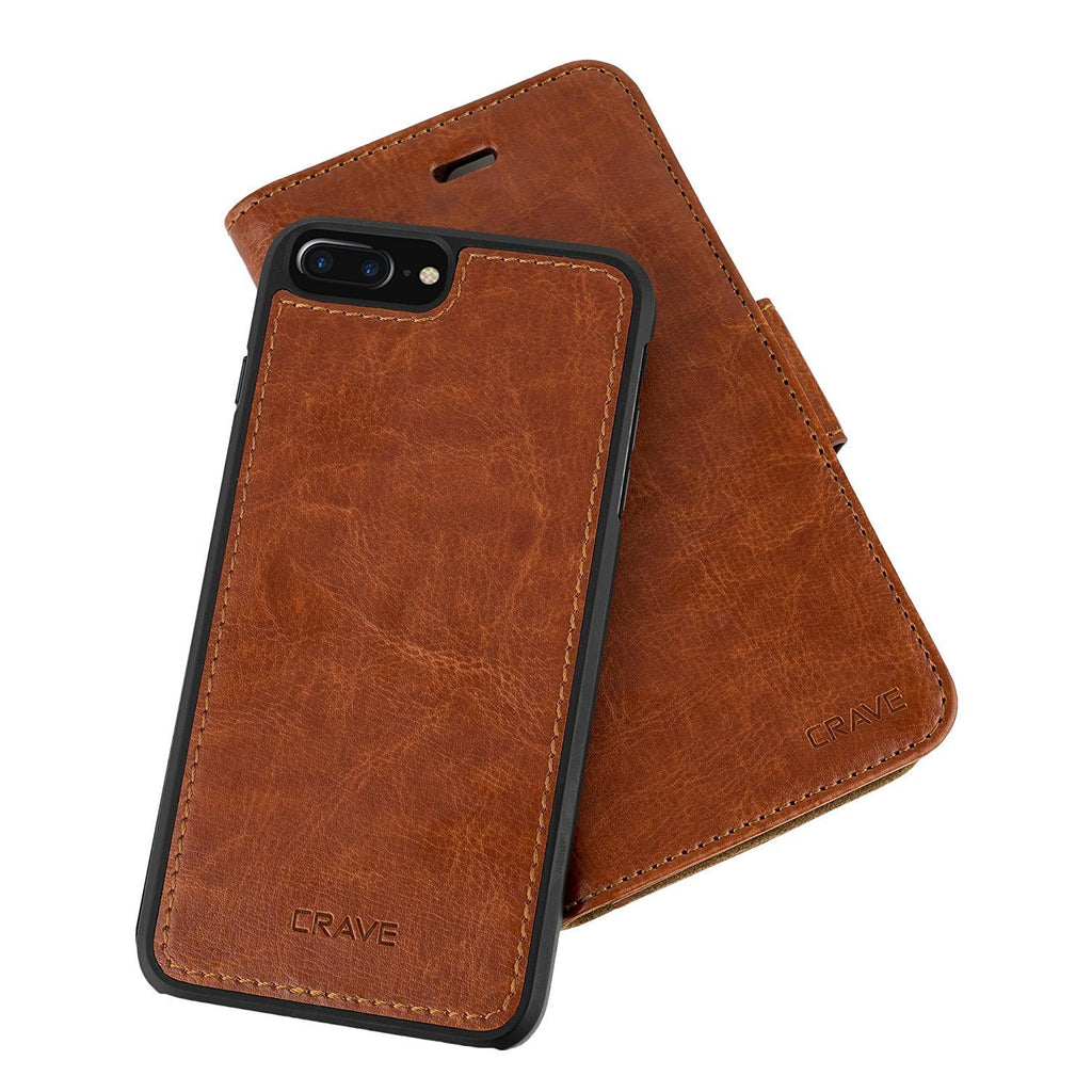 Dark Brown Apple iPhone 7 8 Plus Case Vegan Leather Wallet Cover by Crave var-4873693823017
