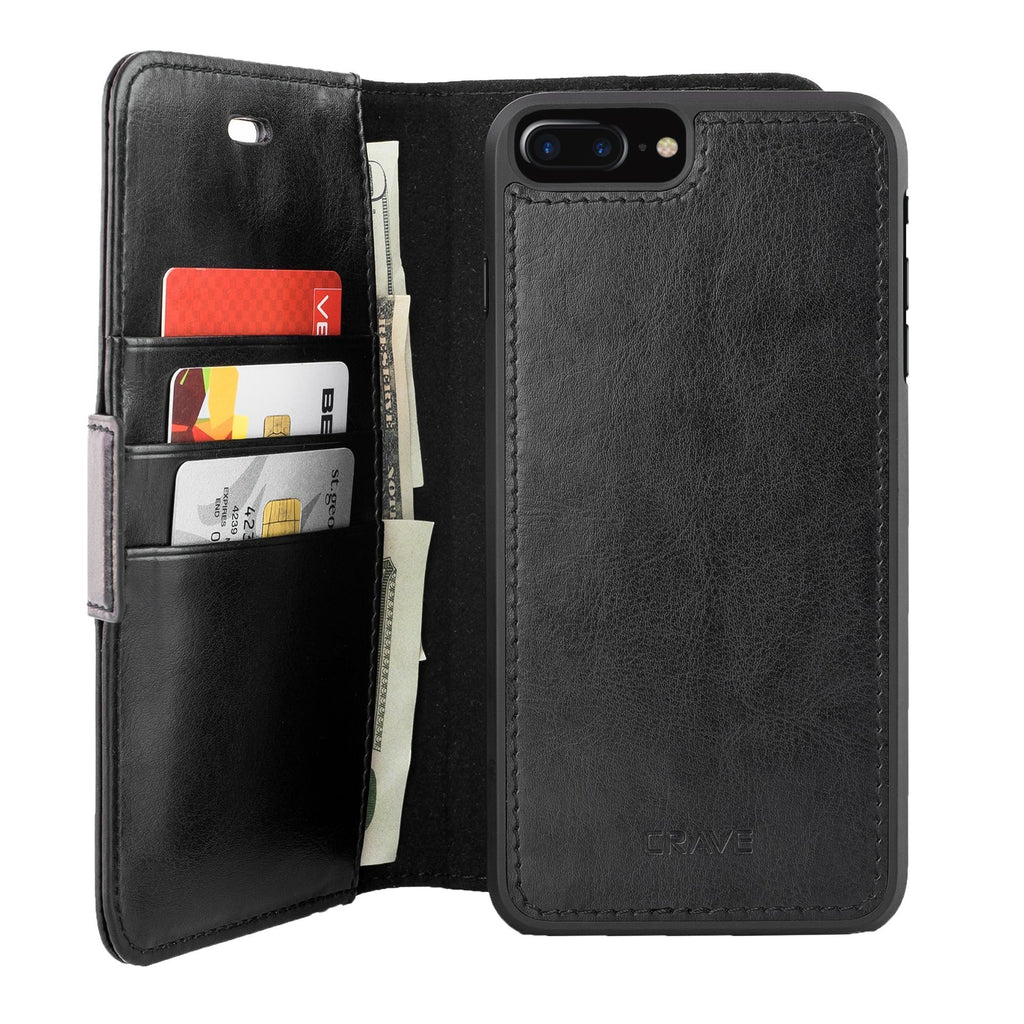 Black Apple iPhone 7 8 Plus Case Vegan Leather Wallet Cover by Crave var-4873694052393
