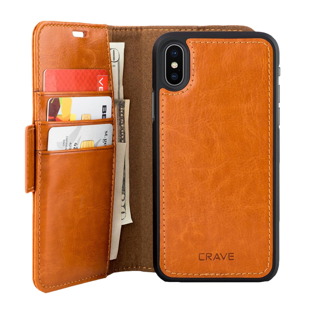 Brown Apple iPhone X 10 Case Vegan Leather Wallet Cover by Crave var-4873694183465