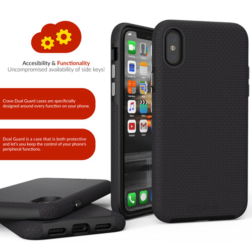 Black iPhone X 10 Case ten dual guard Cover Crave var-8119576756337