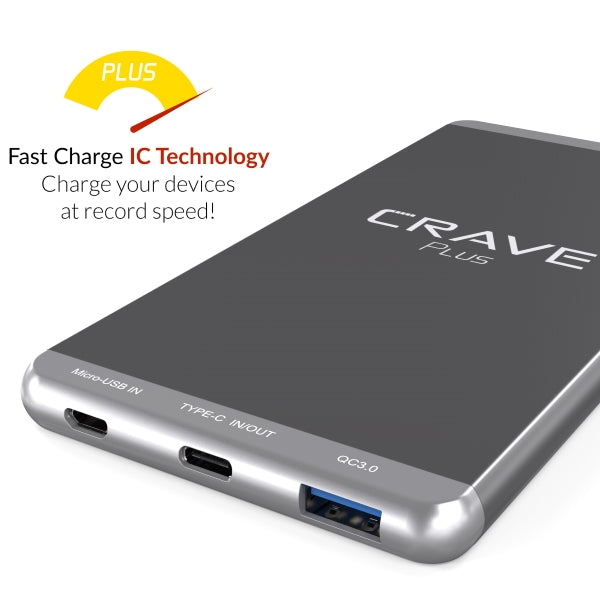 Crave Plus Portable Charger Power Bank External Battery Pack Type C QC 3.0