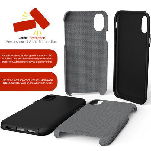 Grey Gray iPhone X 10 Case ten dual guard Cover Crave var-8119576854641